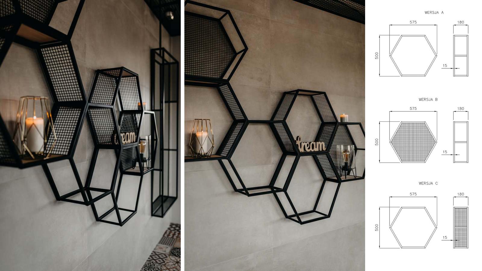 Ścianka/półka plaster miodu